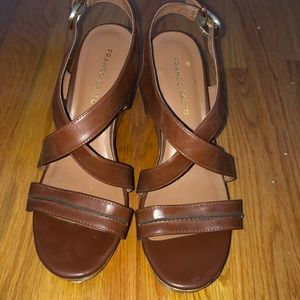 Franco Sarto brown leather wedges